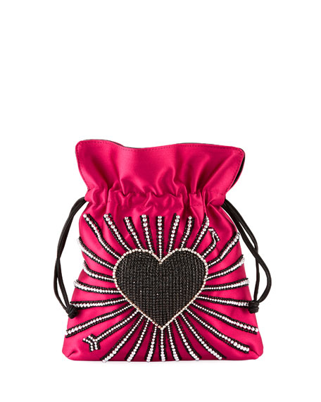 Les Petits Joueurs Trilly Heart Cupid Satin Pouch