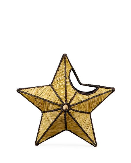 Mercedes Salazar Small Star Straw Clutch Bag