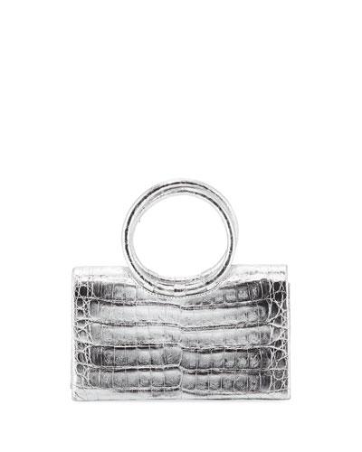 Crocodile Circle Handle Clutch Bag