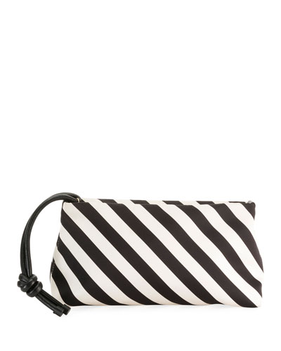 Striped Wristlet Clutch Bag