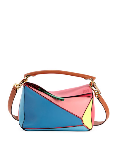 Puzzle Small Colorblock Leather Shoulder Bag