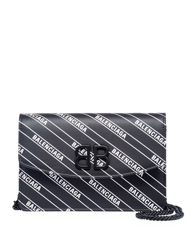 BB Logo-Print Leather Wallet On Chain