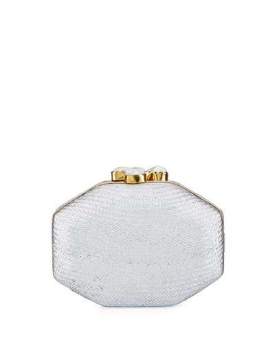 Sofia Straw Clutch Polygon Bag  Silver
