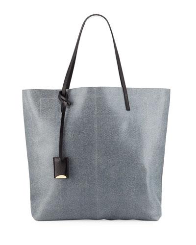 Leather Medium Tote Bag  Blue