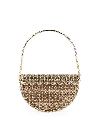 Goldie Half-Moon Crystal Cage Minaudiere Bag