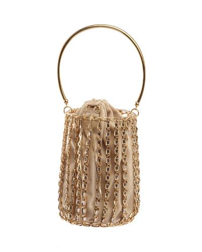 Kill Bill Chain-Frame Velvet Minaudiere Bag