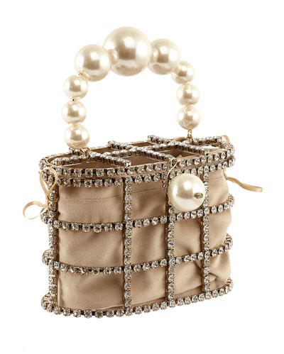 Holli Pearl-Handle Caged Minaudiere Bag