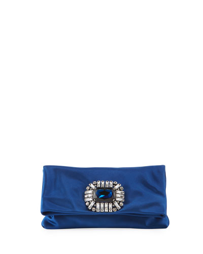 Titania Jeweled Satin Clutch Bag  Blue