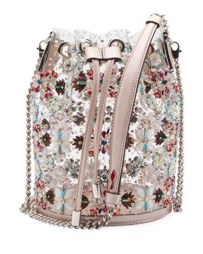 Marie Jane Crystal-Beaded PVC Bucket Bag