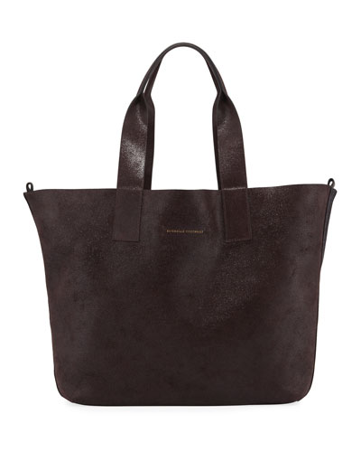 Reversible Wool & Buffed Leather Tote Bag