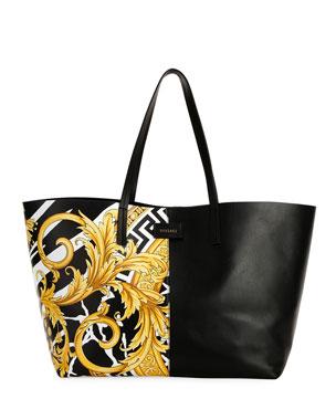 6efc824add1 Versace Savage Barocco Leather Tote Bag