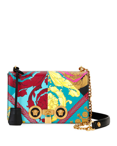 Icon Voyage Medium Barocco Leather Shoulder Bag with Medusa Studs