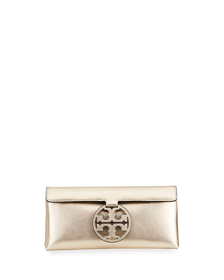 Tory Burch Miller Metallic Leather Medallion Clutch Bag