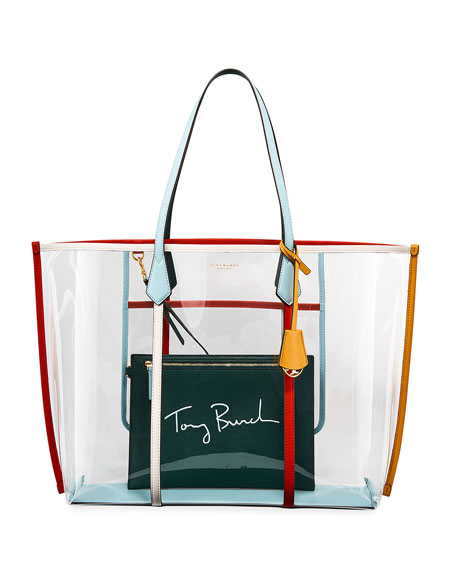Tory Burch Perry Oversized Colorblock See Through Tote Bag