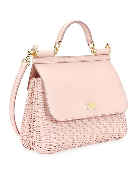 Dolce & Gabbana Sicily Medium Rattan/Leather Top-Handle Bag