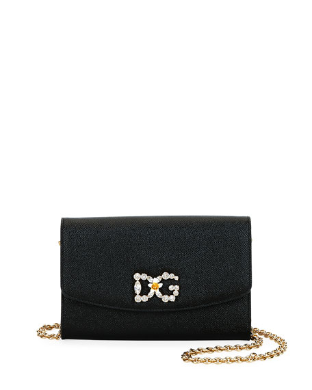 Dolce & Gabbana DG Crystal-Logo Leather Wallet On Chain