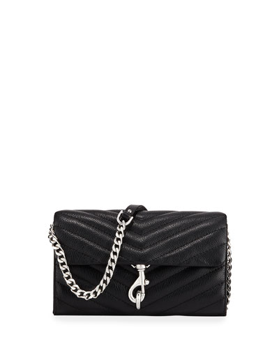 Edie Quilted Leather Wallet On Chain