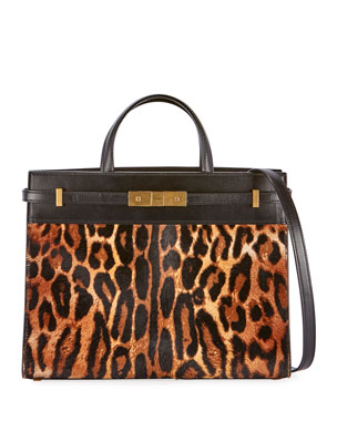 7c38408558a2 Saint Laurent Manhattan Small Leopard Calf Hair Tote Bag