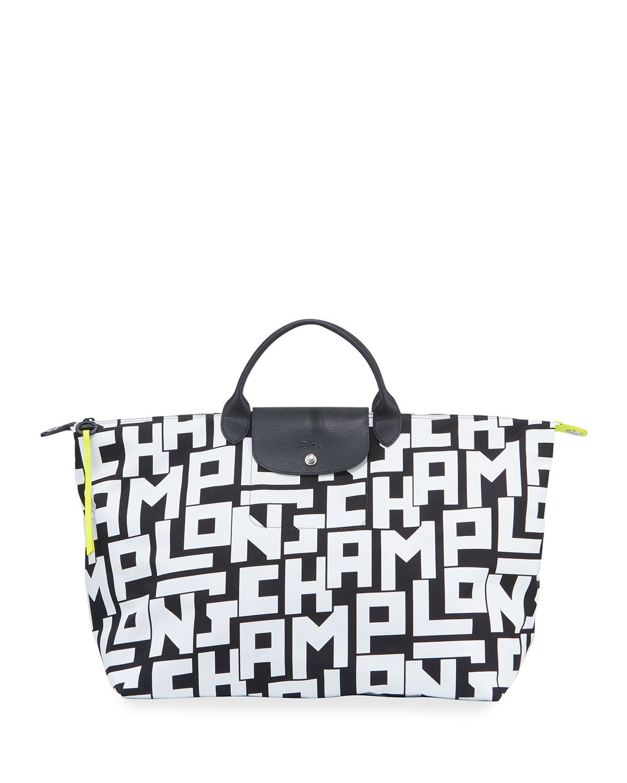 9a76b521ab8ffe Longchamp Le Pliage XL Logo-Print Travel Tote Bag | Neiman Marcus