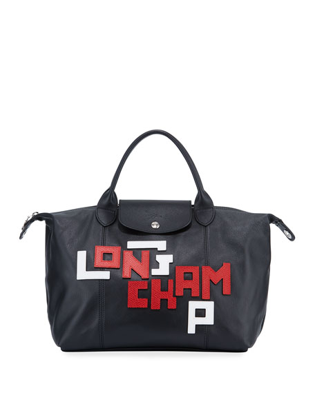 Longchamp Le Pliage Cuir Medium Logo Leather Tote Bag