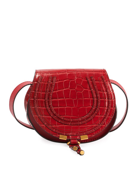 Chloe Marcie Small Croco Saddle Crossbody Bag