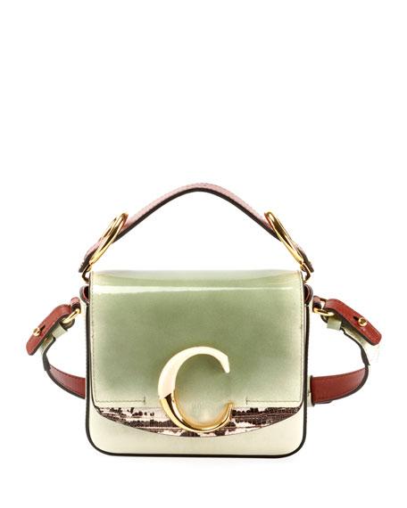 Chloe C Mini Glossy Top-Handle Bag