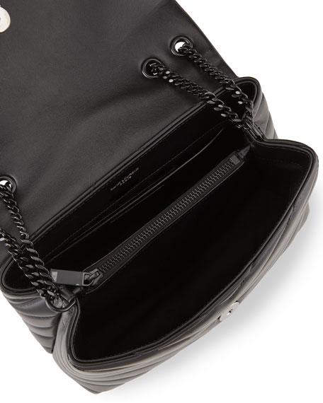 Saint Laurent Loulou Small Matelasse Calfskin Flap-Top Shoulder Bag, Matte Black Hardware
