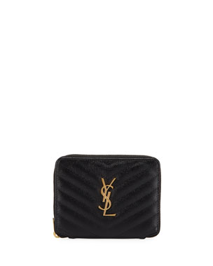 b109a37f9b Saint Laurent Small YSL Monogram Zip-Around French Wallet