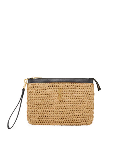 Monogram YSL Raffia Wristlet Pouch Bag