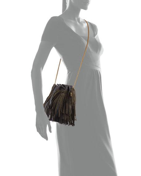 Saint Laurent Talitha Small YSL Monogram North/South Fringe Bucket Bag