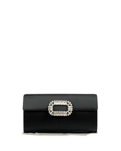 Envelope Satin Flap Clutch Bag  Black