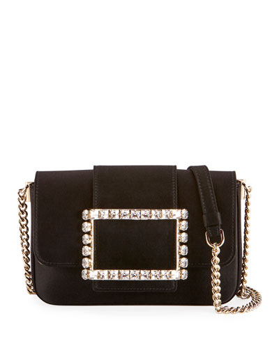 Tres Strass Satin Buckle Clutch Bag  Black
