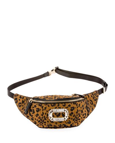 Quilted Leopard-Print Belt Bag