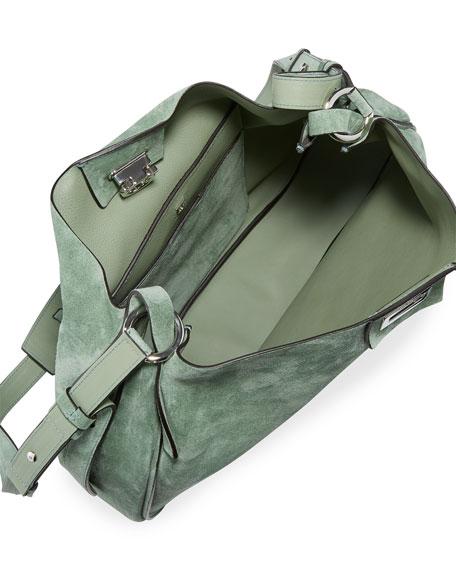 Salvatore Ferragamo The Reverse Medium Suede Shoulder Bag