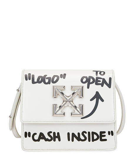 Off-White Jitney Cash Inside Crossbody Bag, White/Black