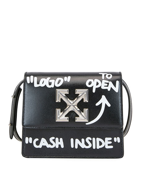 Off-White Jitney Cash Inside Top Handle Bag, Black/White