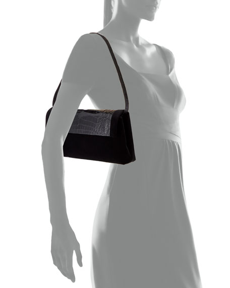 Nancy Gonzalez Gotham Crocodile & Velvet Clutch Bag