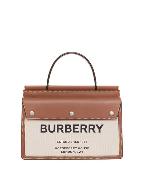 Burberry Logo Canvas & Leather Tote Bag