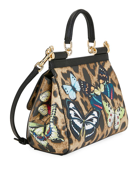 Dolce & Gabbana Sicily Small Leopard Top-Handle Bag with Butterfly Accent