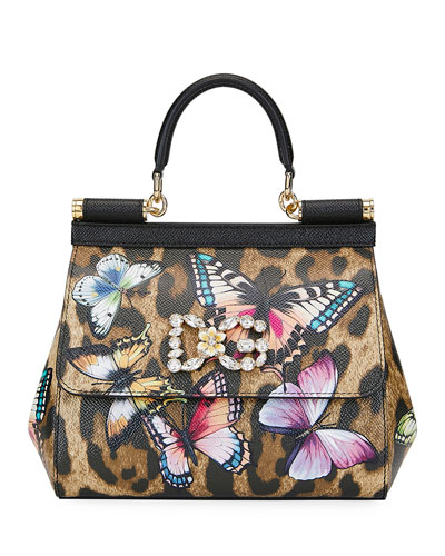 Sicily Small Leopard Top-Handle Bag with Butterfly Accent