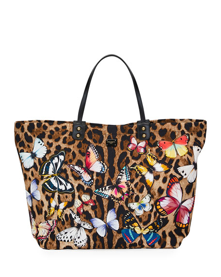 Dolce & Gabbana Leopard-Print Tote Bag with Butterfly