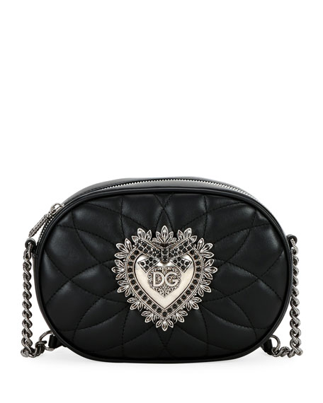 Dolce & Gabbana Devotion Quilted Leather Camera Bag with Heart Medallion