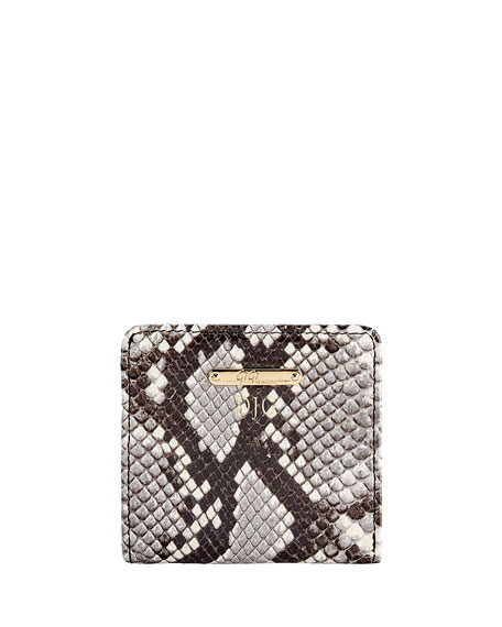 Gigi New York Python-Embossed Leather Mini Folding Wallet