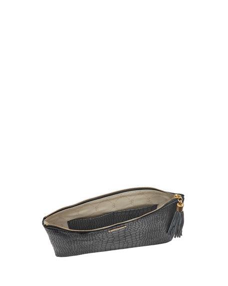 Gigi New York Uber Python-Embossed Leather Clutch Bag