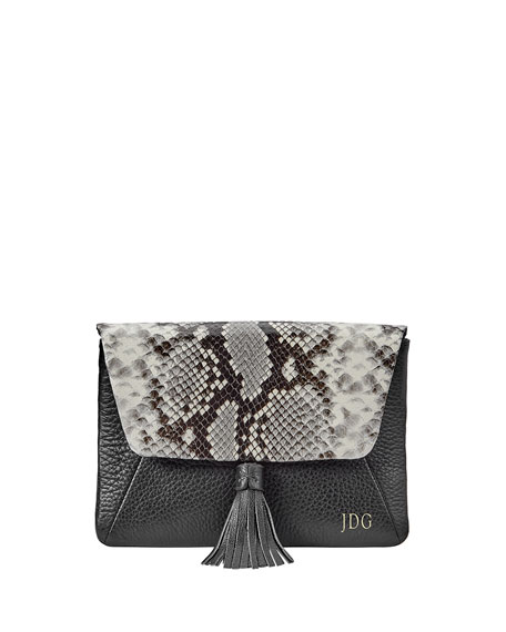 Gigi New York Aveline Snake-Print Clutch Bag