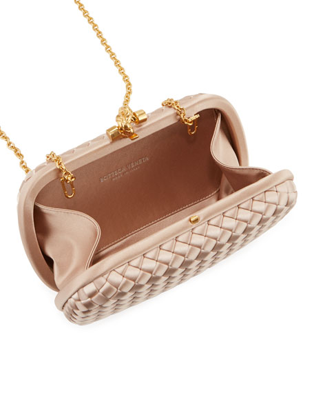 Image 2 of 4: Bottega Veneta Intrecciato Woven Satin Chain Knot Clutch