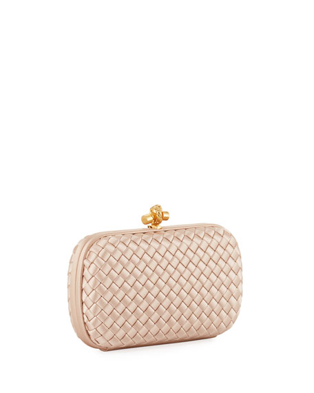 Image 3 of 4: Bottega Veneta Intrecciato Woven Satin Chain Knot Clutch