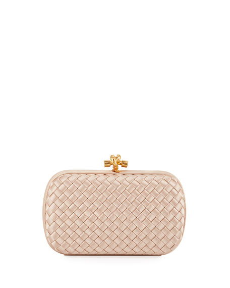 Image 1 of 4: Bottega Veneta Intrecciato Woven Satin Chain Knot Clutch