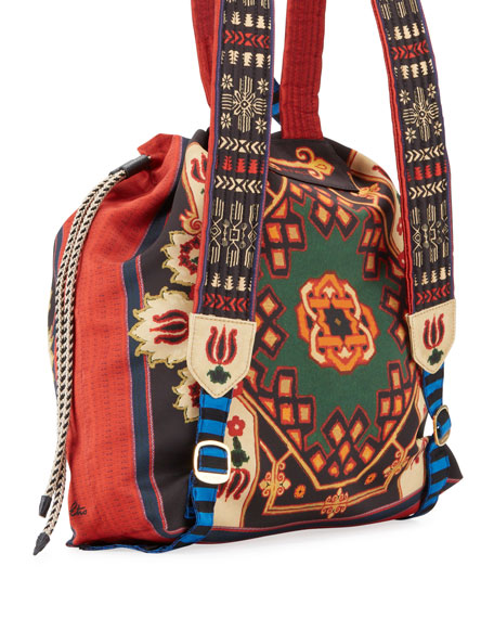 Etro Neo Nomad Satin Drawstring Backpack
