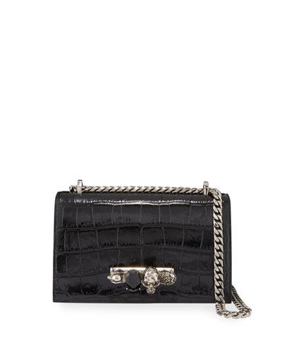 Shiny Croc-Embossed Jeweled Shoulder Bag  Black